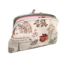 Large French vintage style linen coin purse with 2 compartments, Eiffel tower, roses, lace, parasole