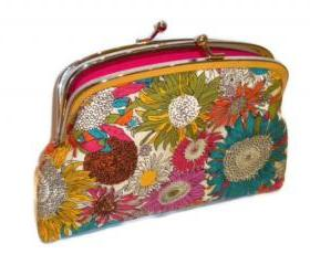 Modern Kiss lock wallet with bright funky flowers - in pink, orange, yellow with 2 compartments