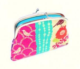 Bright coin purse wallet in kokka etsuko echino linen - flower & bird design, double frame purple, pink, orange with turquoise inside