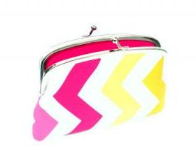 Bright chevron kiss lock Wallet with pink, yellow, orange zig-zag design, 2 compartment coin purse