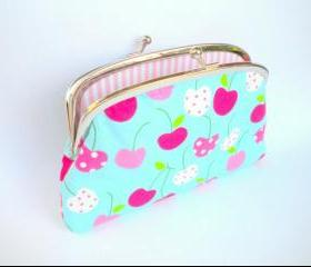 Large coin purse wallet made with metal clasp frame - kitsch cherry and stripey - kawaii