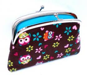 Cute Coin purse pouch made from Brown kawaii owl fabric with 2 sections interior - metal frame wallet