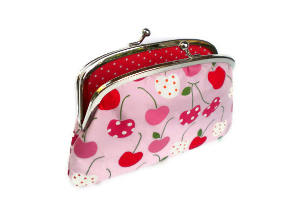 Large coin purse wallet made with metal kiss clasp frame- kawaii pink cherries and red polka dots