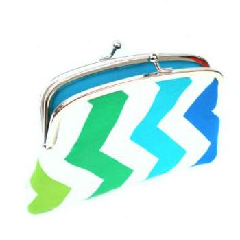 White chevron kiss lock coin purse with teal, aqua, green and blue zig-zag pattern, 2 compartments