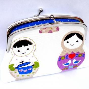 White Russian doll / babushka coin purse - cute design kiss lock wallet with blue polka dots