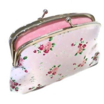 Double section coin purse - White Shabby Chic ditsy fabric wallet - cath kidston & pastel pink polka dots