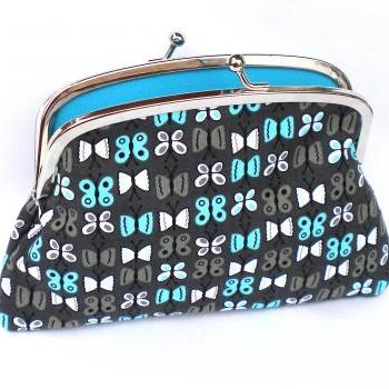 Grey Butterfly Coin purse with kiss clasp frame divider and 2 compartments- turquoise interior