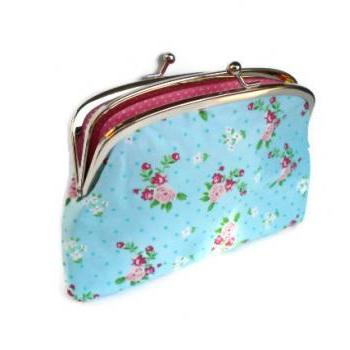 Coin pouch - Blue ditsy metal frame purse with 2 compartments - cath kidston fabric floral and Pink polka dots