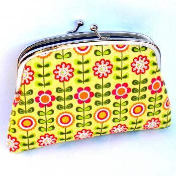 Yellow flower coin purse made with twin section metal wallet frame - orange floral